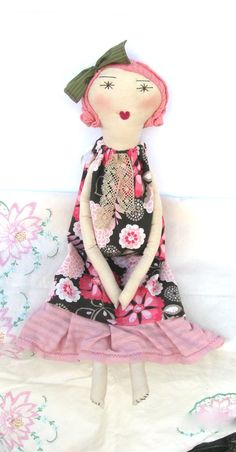 Camille: Handmade Rag Doll - Eco Friendly Soft Cloth Doll - 22 Inches Tall - Organic Muslin, Recycled & Vintage Textiles - Pink and Brown