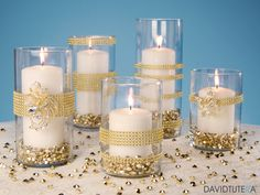 Share Tweet Pin Mail Gold Rhinestone Candle Holders Supplies: Cylinder Vases of your choice David Tutera Gold Rhinestone Mesh David Tutera Rhinestone Flower Pin or Gold ...