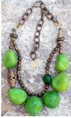 XOGallery.com Bold and Organic Green Tagua Nut and African Brass Statement Necklace