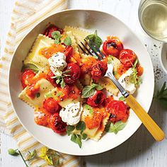 Pasta with Burst Tomatoes and Mascarpone | MyRecipes.com