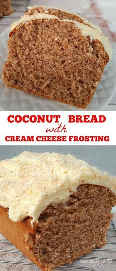 Moist, delicious Coconut Bread with a divine Cream Cheese Frosting
