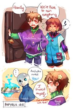 Undertale | Au where no one died and Chara is just that annoying kid Frisk dates for some reason and Sans has so many bones to pick with them.