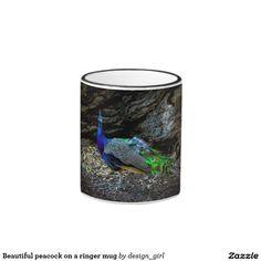 Beautiful peacock on a ringer mug