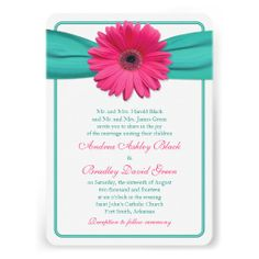 Now that Zazzle has rounded corners invitations I've remade quite a few of my ribbon and flower designs with rounded corners borders. Here's one. Pink gerbera (gerber) daisy and turquoise ribbon wedding invitation. Quite a few other colors available in my store as well.    $2.15 per card on basic paper. Volume discounts available up to 45% off. Different paper types to choose from too.  #weddings #weddinginvitations #weddinginvites