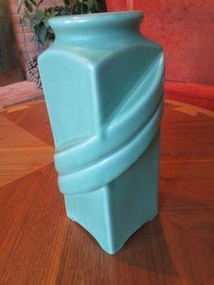 RARE Vintage Camark Pottery Green Leaf Art Deco Vase
