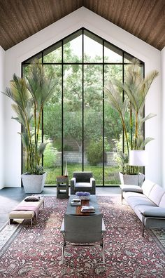 L'AVENTURE – Inspirations and ideas : Rez-de-chausée – - sencillas Interior Design Living Room, Living Room Designs, Interior Livingroom, Living Rooms, Interior Architecture, Interior And Exterior, Interior Plants, Large Windows, Modern House Design