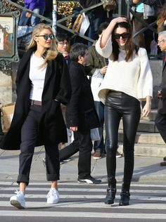 Gigi hadid and Kendall Jenner take on PFW in black and white.