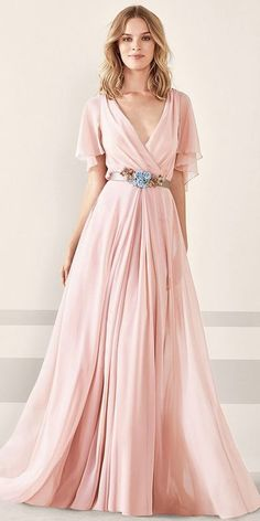 Chiffon V-neck Neckline Bell Sleeves A-line Prom Dress ,Party Dress With Handmade Flowers & Sash - Vestidos de festa rendajosefina - A Line Prom Dresses, Prom Party Dresses, Formal Evening Dresses, Ball Dresses, Elegant Dresses, Pretty Dresses, Evening Gowns, Bridal Dresses, Beautiful Dresses