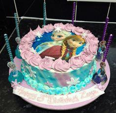 Frozen themed cake. Vanilla sponge cake all fresh cream.