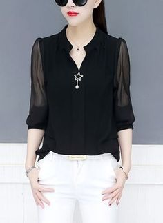 Solid Elegant V-Neckline Long Sleeve Blouses - Floryday Casual Tops For Women, Blouses For Women, Jackets For Women, Plus Size Black Dresses, Plus Size Outfits, Blouse Styles, Blouse Designs, Best Plus Size Clothing, Cool Outfits