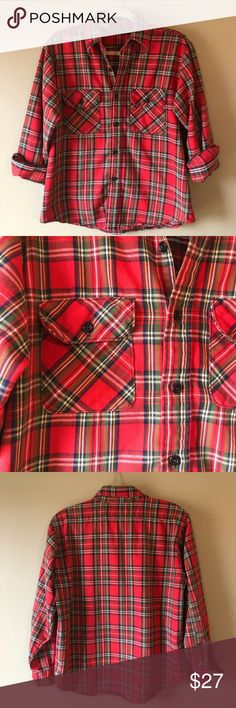 "Vintage Union Made Red Flannel Plaid Work Shirt Vintage 60s/70s union made (ACWA) red plaid flannel button down shirt.  100% sturdy but soft cotton. 2 patch pockets at chest. Labeled as a size men's M. Measures 22.5"" armpit to armpit and 26"" shoulder to longest point of front hem. In very good vintage condition. One area near bottom of front and left sleeve button hole are frayed. Please see pics for reference. Vintage Shirts Casual Button Down Shirts"