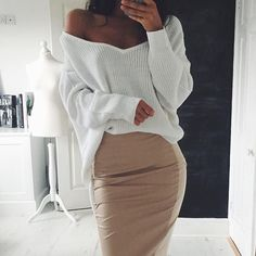 Off the shoulder white sweater with pencil Skirt