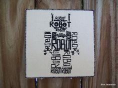 Robot Calligram Art Card Hand Pulled Print Black by BlueJacaranda