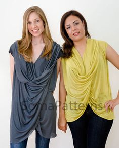 """Soma twisty top tunic, zero waste pattern Loose-fitted top/tunic with dramatic drape in the front.    Fabric  Light weight knit (light, soft jersey) or woven (light crepe or heavy chiffon) is recommended. No Notion necessary    The pattern included is for a piece of fabric 52""""(132cm) wide and 52"""" in length. It  is draft so you can adjust it for fabric width and length from 52"""" to 60""""(152cm)"""