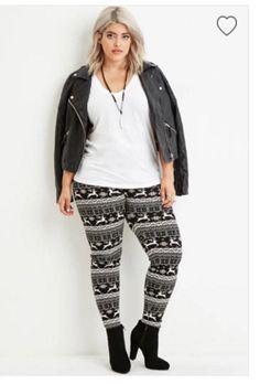 printed leggings, black wedge booties, white t, leather jacket