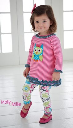 Pink Owl Dress & Leggings Set sold at Sprout Boutique