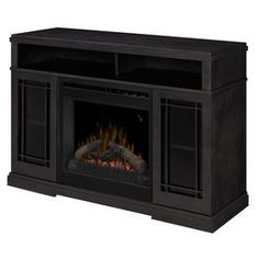 Dimplex 46.5-in W 4,777-BTU Raven Wood Fan-Forced Electric Fireplace with Thermostat and Remote Control