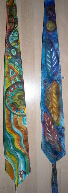 Corbatas de seda pintadas a mano