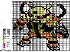 466 Electivire by cdbvulpix on DeviantArt Cross Stitch For Kids, Cross Stitch Charts, Cross Stitch Patterns, Cross Stitching, Cross Stitch Embroidery, Pokemon Cross Stitch, Pixel Art Grid, Crochet Pokemon, Pokemon Perler Beads