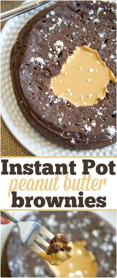 Easy Instant Pot pressure cooker brownies that are filled with peanut butter or caramel, both are amazing! The best dessert I've made in my Instant Pot yet!! via @thetypicalmom