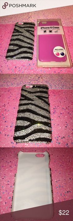 🎉SALE🎉2 IPHONE 6/6S CASES -brand new (pink one)💗NO TRADES💗 -never used (pink one) -great excellent used condition (zebra Swarovski one) -still in original case (pink one) -zebra Swarovski-gorgeous rhinestone all around back if case attached firmly, hard plastic, snap on -pink case-slim fit , snap on, protective case -comes from a pet free and smoke free home Accessories Phone Cases