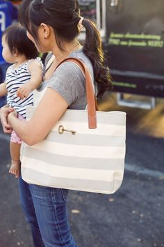 Subtle stripes are pretty and fresh on a canvas tote... #Fossil #SongofSpring #Spring Register to Win Here: http://on.fb.me/Y44D7O