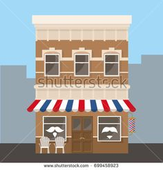 Barber shop facade. Vector illustration
