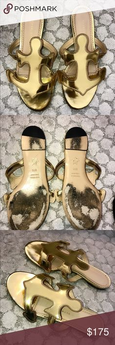 Charlotte Olympia Gold anchor sandals sz 37.5 Pretty, all gold sandals with anchor symbol. Very comfortable and stylish. Great to dress up a pair of jeans and tank top. Charlotte Olympia Shoes Sandals