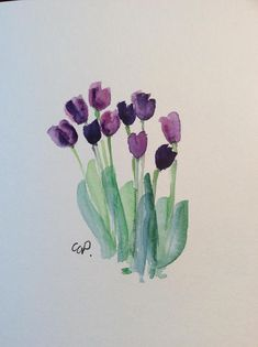 Purple Tulips Watercolor Card / Hand Painted Watercolor Card