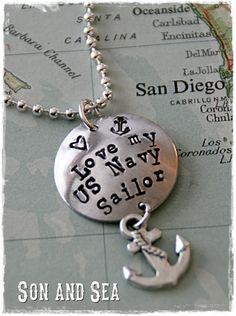 Love My US Navy Sailor Hand stamped pendant necklace by Son and Sea FREE US shipping