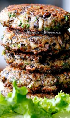 Chunky Potabella Veggie Burgers. Easy and yummy. Great way to pack in the veggie servings!