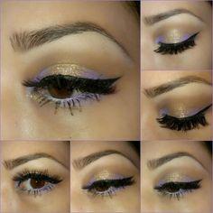 Gold and purple eyeshadow. Eyeliner.
