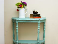 Aqua chalky painted distressed end table    http://www.restorationredoux.com/?p=23