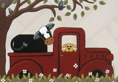 """"""" ROAD TRIP """" Whimsical Cow and Dog in Truck Painting - Whimsical Art by Annie Lane Folk Art"""