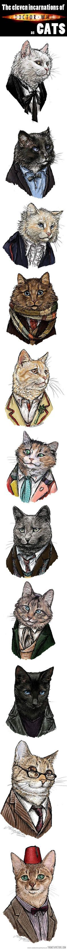 All the incarnations of Doctor Who as cats.  Might help explain why I love Nine so much.  <3