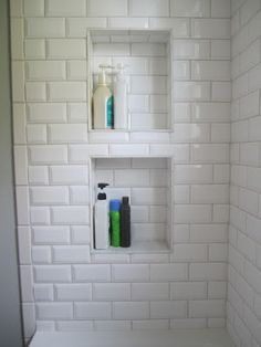 Yes! Shelves/cubbies for storage on the opposite side from the shower head, so that the soap doesn't melt and everything else doesn't get soaked.