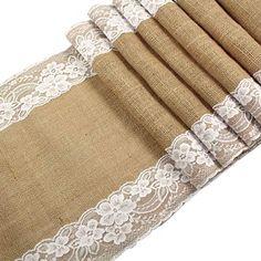 OurWarm Baby Rustikal Jute Spitze Sackleinen Tischläufer natur Jute für Hochzeit Festival Event Tisch Dekoration, Textil, White Lace Both Side, 1 Stpck