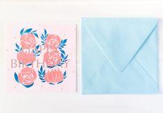 Birthday card + envelope 誕生日カード by MEIKOILLUSTRATION on Etsy