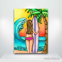 North Shore Surf Surfer Surfing Girl Fine Art by HollyvisionArt