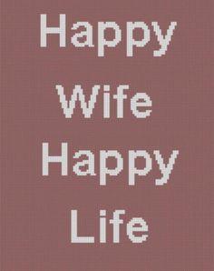 Happy Wife Happy Life Cross Stitch Patte | Craftsy