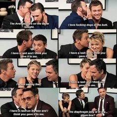 Avengers cast - The Avengers: Age of Ultron interview #funny #hilarious - Chris Evans, Chris Hemsworth, Jeremy Renner, Scarlett Johansson, Mark Ruffalo, Robert Downey Jr.