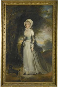 Sir William Beechey, R.A. PORTRAIT OF MRS SIMEON, STANDING IN A LANDSCAPE, WITH A DOG BY HER SIDE