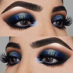 Gorgeous Makeup: Tips and Tricks With Eye Makeup and Eyeshadow – Makeup Design Ideas Eye Makeup Glitter, Blue Eye Makeup, Eye Makeup Tips, Kiss Makeup, Smokey Eye Makeup, Eyeshadow Makeup, Hair Makeup, Smokey Eyeshadow, Eyeshadows