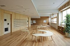 Mokumoku Kindergarten - natural materials, modular furniture and cubbies.