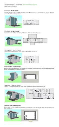 Shipping container home designs from Seattle-based retrofitter Shelter Kraft Werks (http://shelterkraft.com/residential-housing/stock-house-models/)