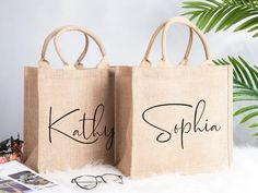 Burlap Tote Bags Personalized Bridesmaid Gift Bag Custom Name | Etsy Burlap Tote, Burlap Gift Bags, Jute Tote Bags, Beach Tote Bags, Bridesmaid Gift Bags, Personalized Bridesmaid Gifts, Wedding Welcome Bags, Wedding Favors, Party Gift Bags