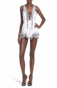 NBD Frolic Lace-Up Romper Extra Small Ivory $198 FTC #3799