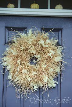Raffia Wreath Tutorial Corn Husk Fall Wreaths Christmas