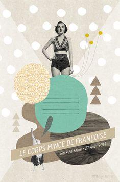 Affiche pour l'exposition Rock'art pendant le festival Rock En Seine, by Mathilde Aubier.