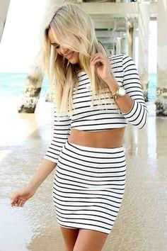 striped crop top + skirt